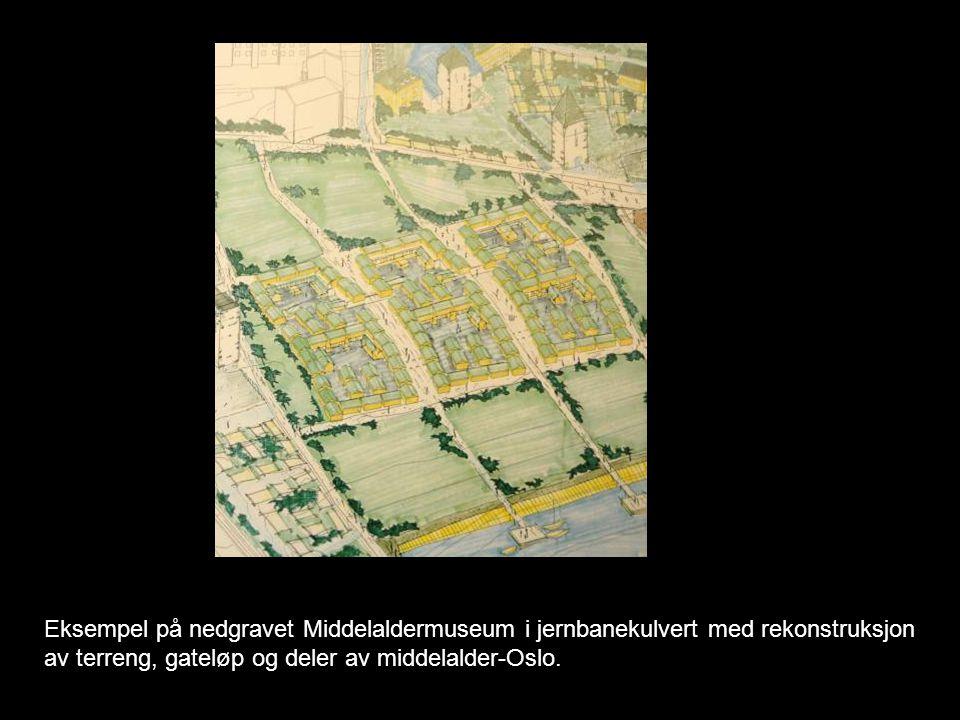 Eksempel på nedgravet Middelaldermuseum i jernbanekulvert med rekonstruksjon av terreng, gateløp og deler av middelalder-Oslo.