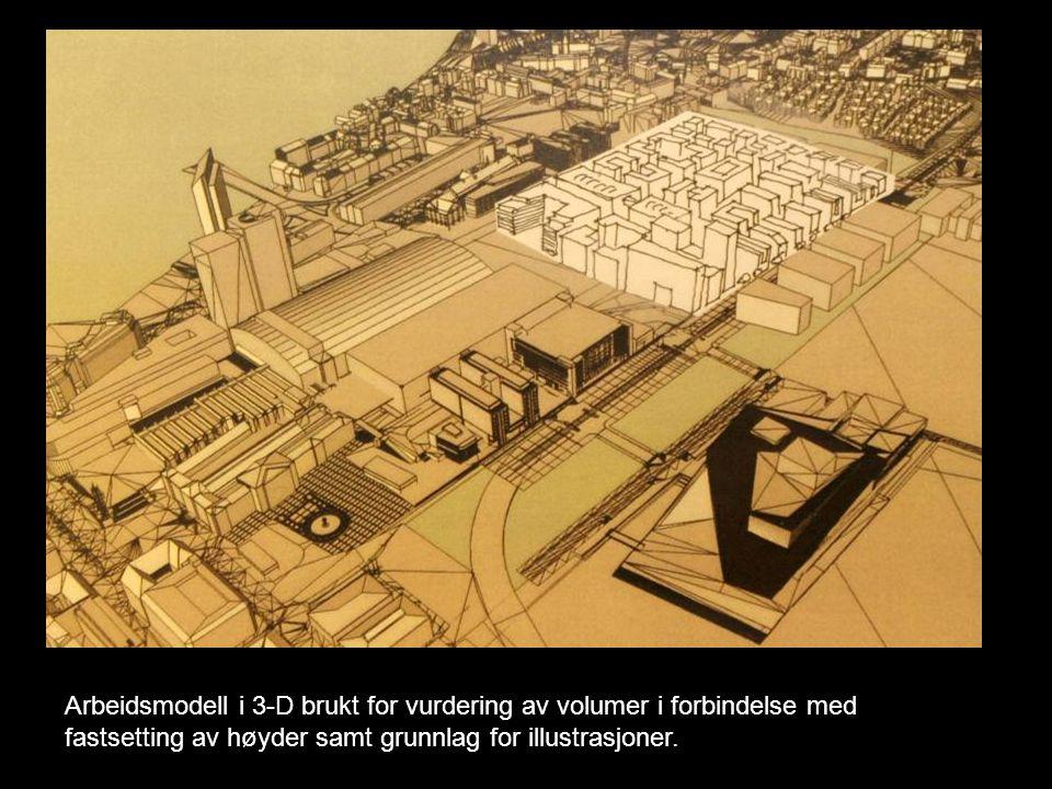 Arbeidsmodell i 3-D brukt for vurdering av volumer i forbindelse med fastsetting av høyder samt grunnlag for illustrasjoner.