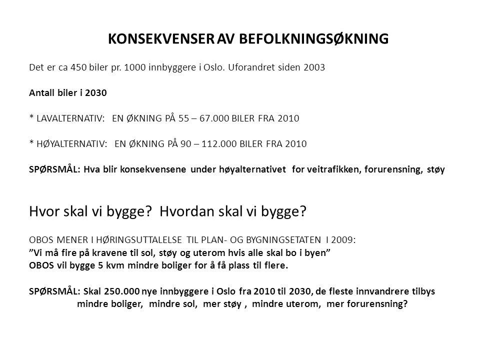 KONSEKVENSER AV BEFOLKNINGSØKNING Det er ca 450 biler pr. 1000 innbyggere i Oslo. Uforandret siden 2003 Antall biler i 2030 * LAVALTERNATIV: EN ØKNING