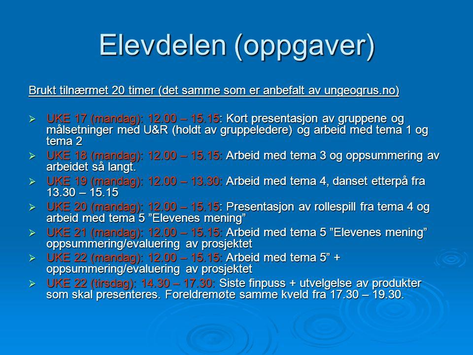 Elevdelen (oppgaver) Brukt tilnærmet 20 timer (det samme som er anbefalt av ungeogrus.no)  UKE 17 (mandag): 12.00 – 15.15: Kort presentasjon av grupp
