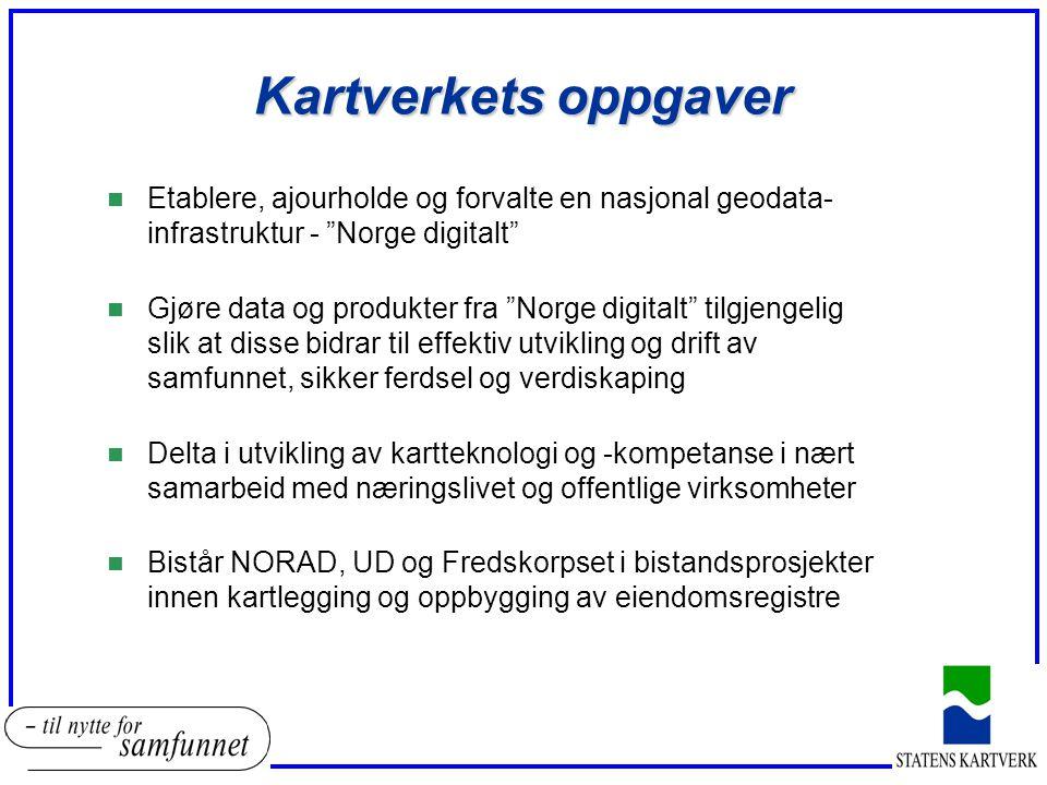 """Kartverkets oppgaver n Etablere, ajourholde og forvalte en nasjonal geodata- infrastruktur - """"Norge digitalt"""" n Gjøre data og produkter fra """"Norge dig"""