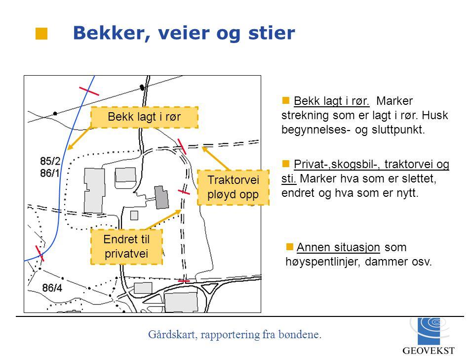 Gårdskart, rapportering fra bøndene.Bekker, veier og stier  Privat-,skogsbil-, traktorvei og sti.
