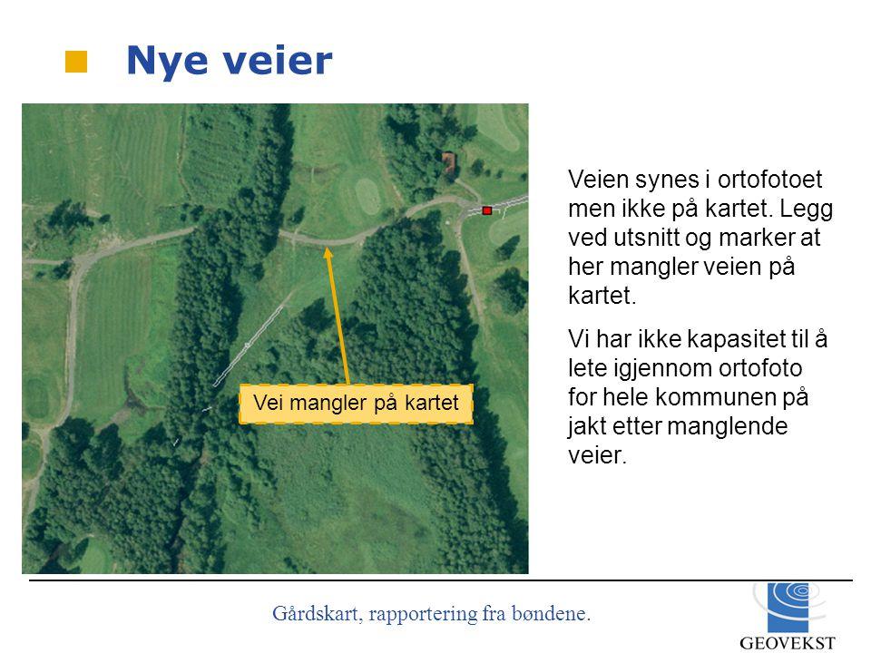 Gårdskart, rapportering fra bøndene.Veien synes i ortofotoet men ikke på kartet.