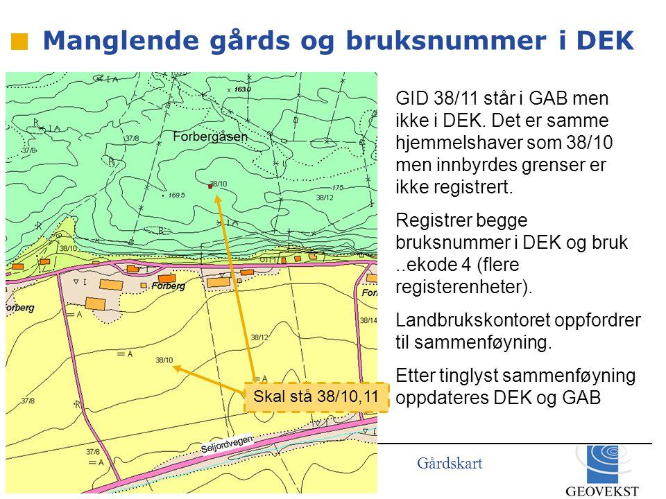 Gårdskart GID 38/11 står i GAB men ikke i DEK.