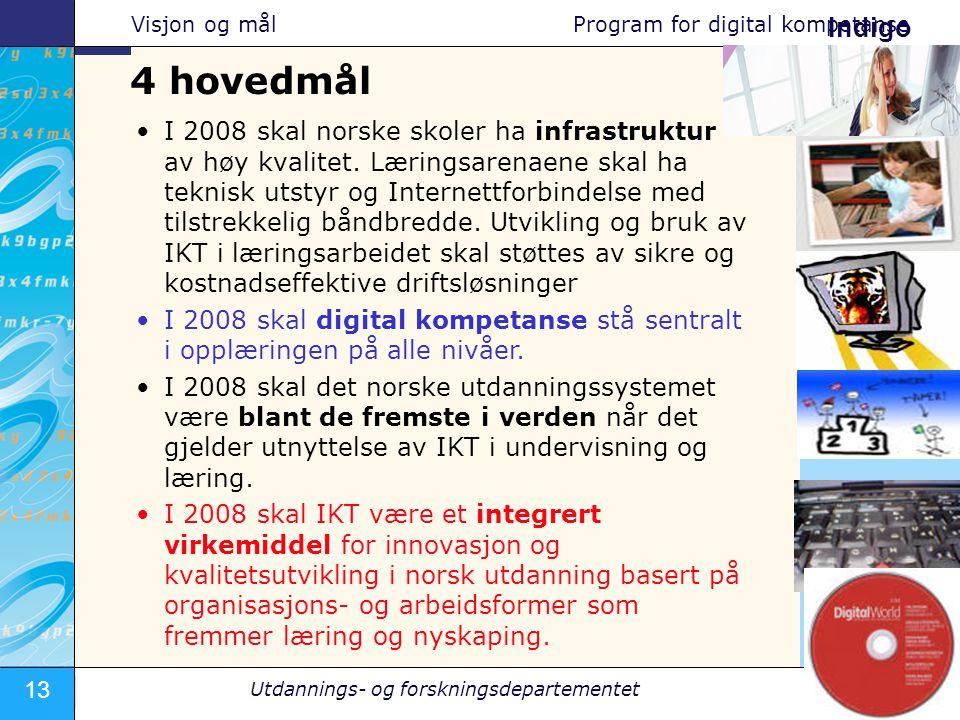 13 JPS - Utdannings- og forskningsdepartementet – 20.10.2005 Indigo •I 2008 skal norske skoler ha infrastruktur av høy kvalitet. Læringsarenaene skal