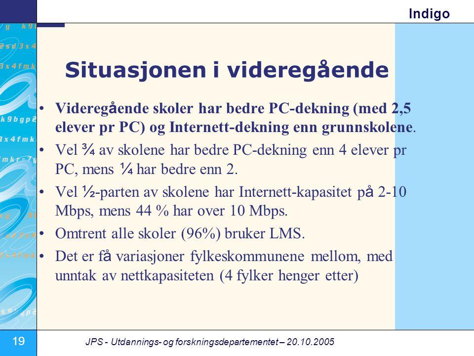 19 JPS - Utdannings- og forskningsdepartementet – 20.10.2005 Indigo Situasjonen i videregående •Videregående skoler har bedre PC-dekning (med 2,5 elever pr PC) og Internett-dekning enn grunnskolene.