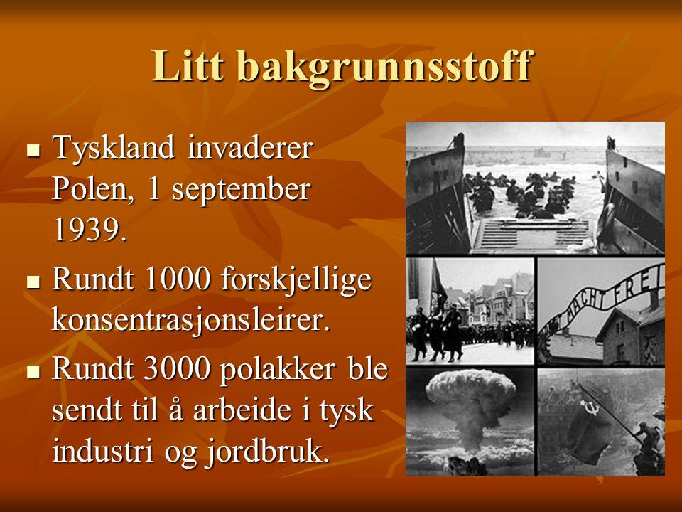 Litt bakgrunnsstoff  Tyskland invaderer Polen, 1 september 1939.