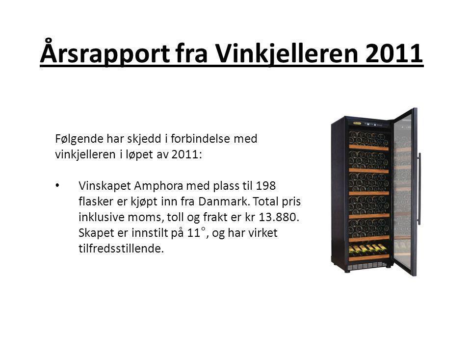 Årsrapport fra Vinkjelleren 2011 Følgende har skjedd i forbindelse med vinkjelleren i løpet av 2011: • Vinskapet Amphora med plass til 198 flasker er kjøpt inn fra Danmark.