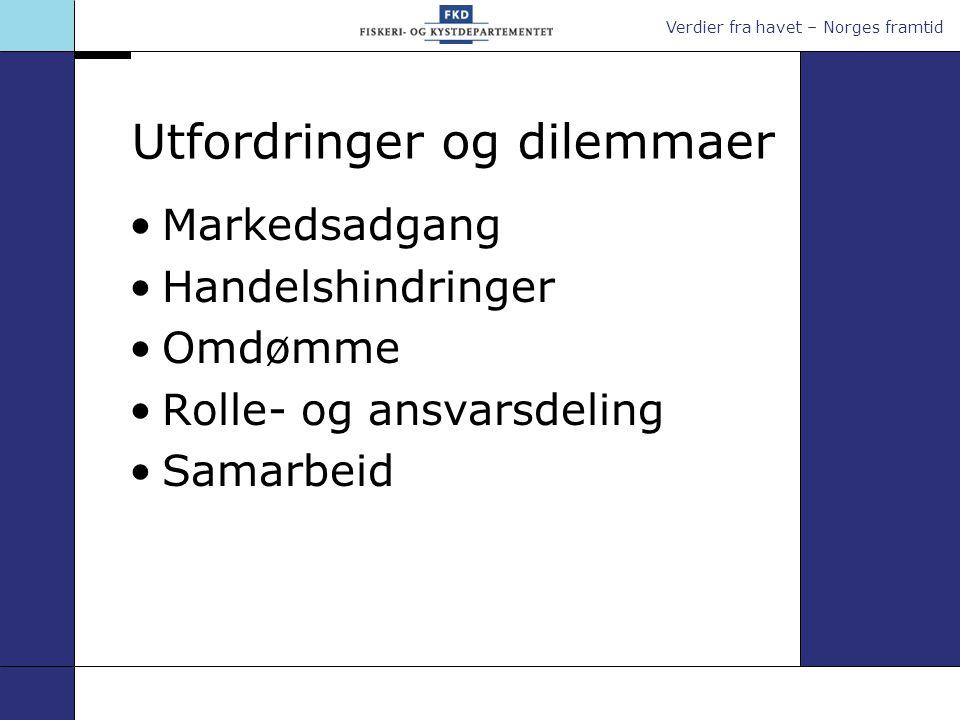 Verdier fra havet – Norges framtid Utfordringer og dilemmaer •Markedsadgang •Handelshindringer •Omdømme •Rolle- og ansvarsdeling •Samarbeid