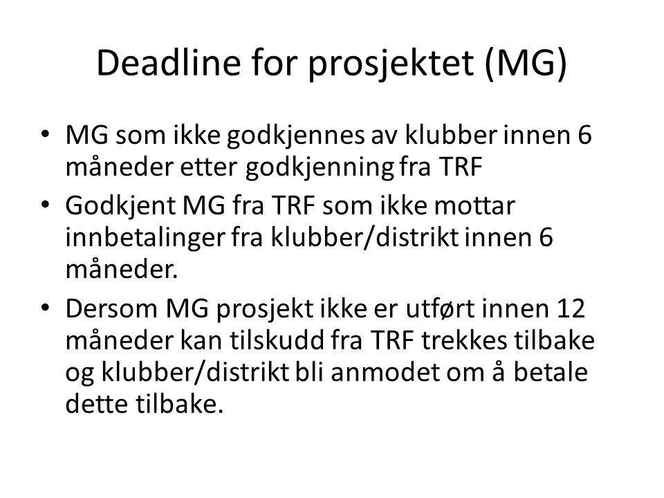 Deadline for prosjektet (MG) • MG som ikke godkjennes av klubber innen 6 måneder etter godkjenning fra TRF • Godkjent MG fra TRF som ikke mottar innbetalinger fra klubber/distrikt innen 6 måneder.