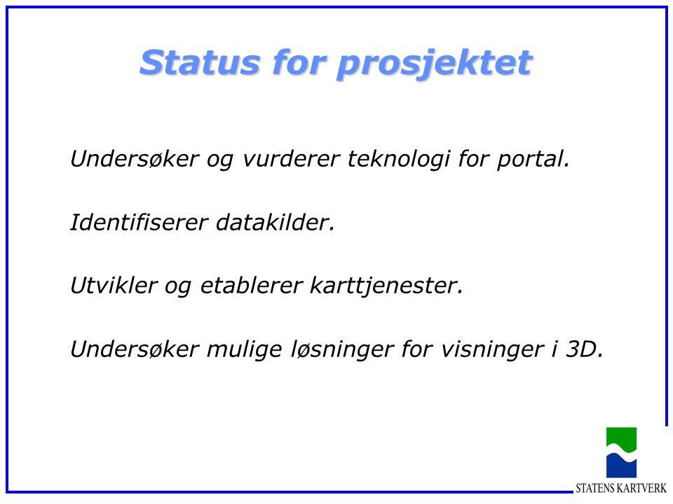 Status for prosjektet Undersøker og vurderer teknologi for portal. Identifiserer datakilder. Utvikler og etablerer karttjenester. Undersøker mulige lø