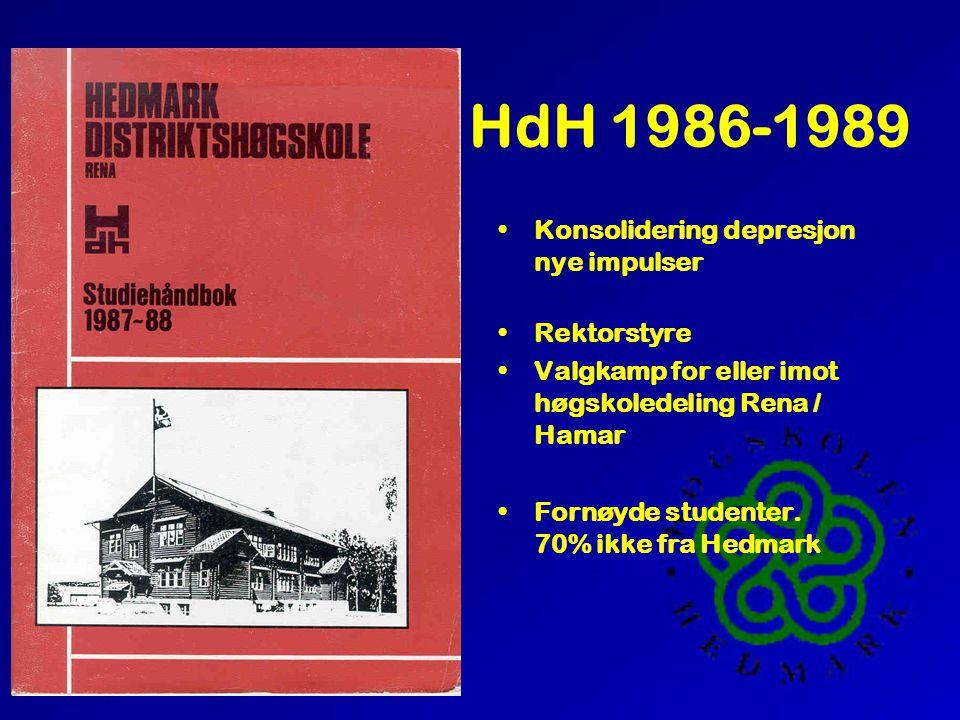 HdH 1986-1989 •Konsolidering depresjon nye impulser •Rektorstyre •Valgkamp for eller imot høgskoledeling Rena / Hamar •Fornøyde studenter. 70% ikke fr