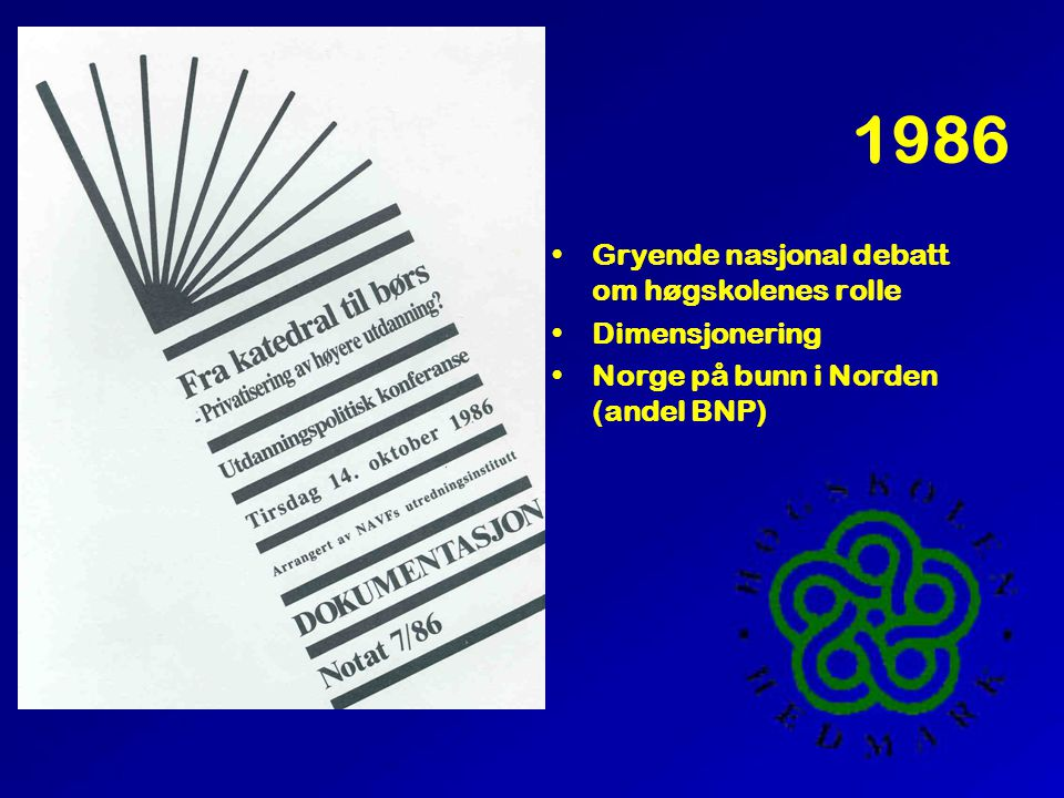1986 •Gryende nasjonal debatt om høgskolenes rolle •Dimensjonering •Norge på bunn i Norden (andel BNP)
