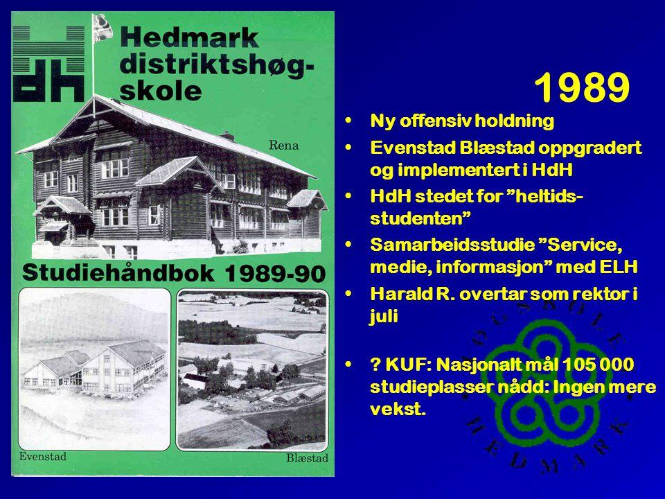 """1989 •Ny offensiv holdning •Evenstad Blæstad oppgradert og implementert i HdH •HdH stedet for """"heltids- studenten"""" •Samarbeidsstudie """"Service, medie,"""