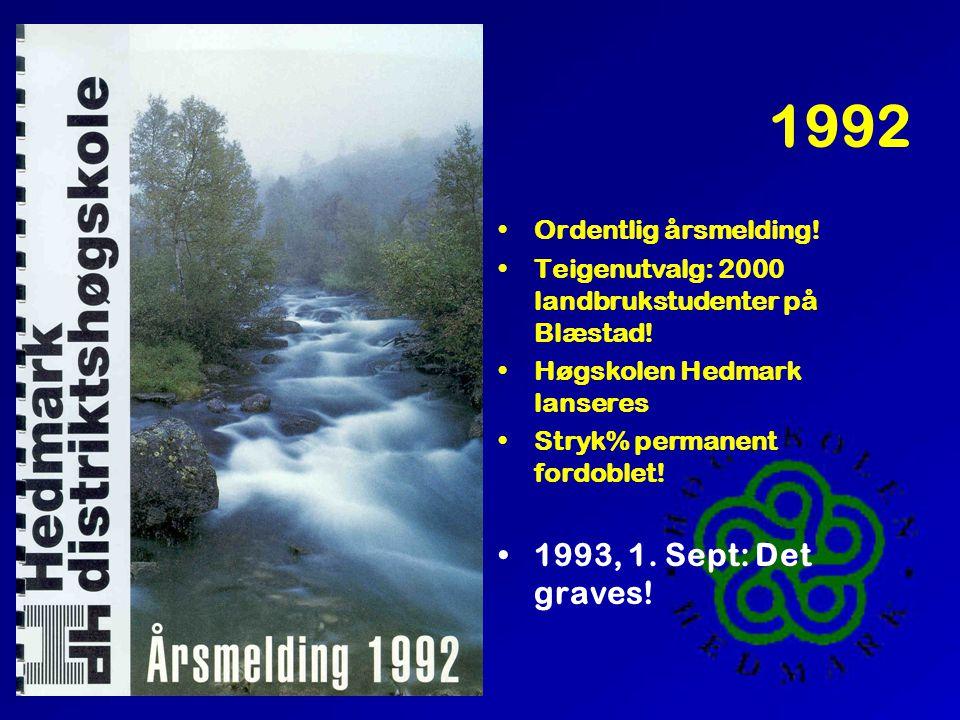 1992 •Ordentlig årsmelding! •Teigenutvalg: 2000 landbrukstudenter på Blæstad! •Høgskolen Hedmark lanseres •Stryk% permanent fordoblet! •1993, 1. Sept: