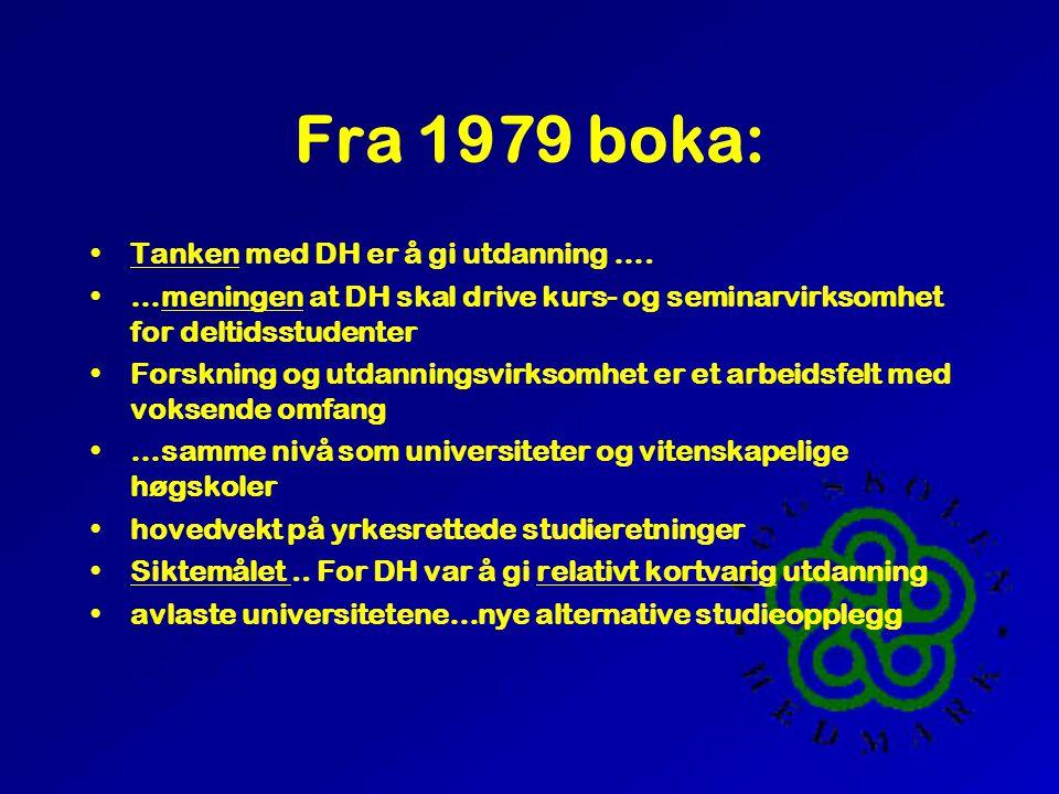 Fra 1979 boka: •Tanken med DH er å gi utdanning …. •…meningen at DH skal drive kurs- og seminarvirksomhet for deltidsstudenter •Forskning og utdanning