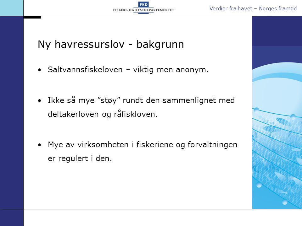 """Verdier fra havet – Norges framtid Ny havressurslov - bakgrunn •Saltvannsfiskeloven – viktig men anonym. •Ikke så mye """"støy"""" rundt den sammenlignet me"""