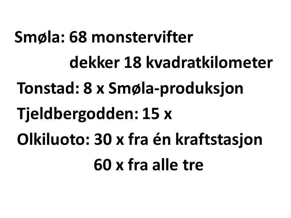 Smøla: 68 monstervifter dekker 18 kvadratkilometer Tonstad: 8 x Smøla-produksjon Tjeldbergodden: 15 x Olkiluoto: 30 x fra én kraftstasjon 60 x fra alle tre