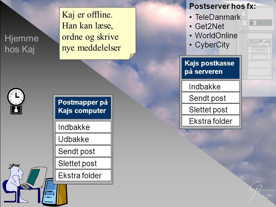 Postserver hos fx: •TeleDanmark •Get2Net •WorldOnline •CyberCity Hjemme hos Kaj Postmapper på Kajs computer Indbakke Sendt post Slettet post Ekstra fo