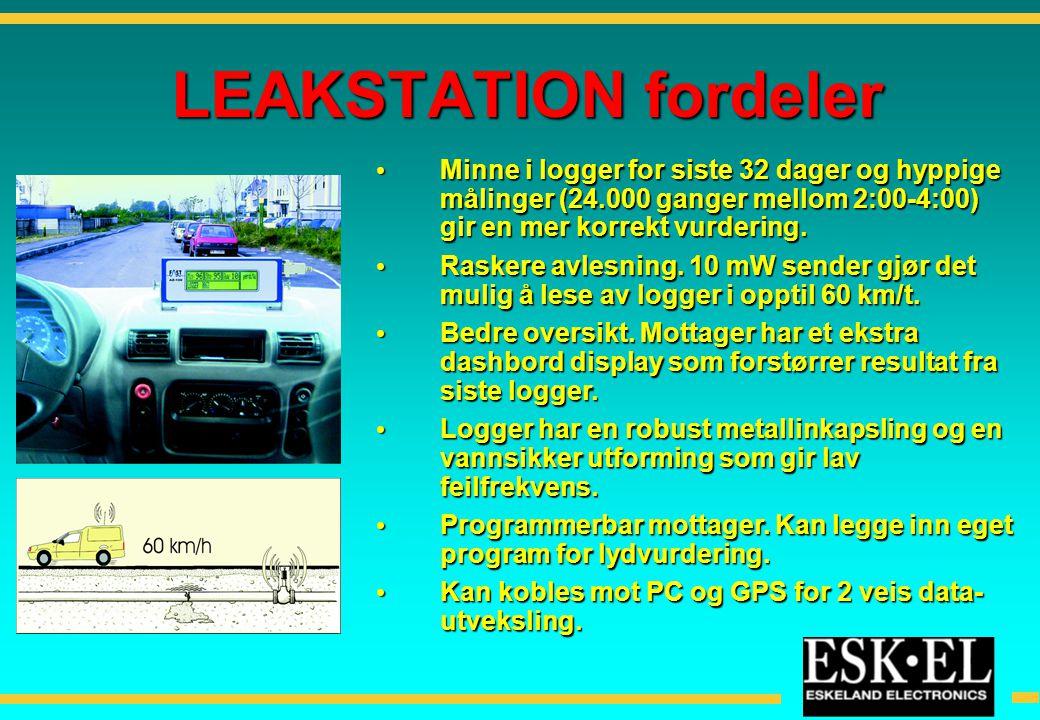 LEAKSTATION fordeler • Minne i logger for siste 32 dager og hyppige målinger (24.000 ganger mellom 2:00-4:00) gir en mer korrekt vurdering. • Raskere
