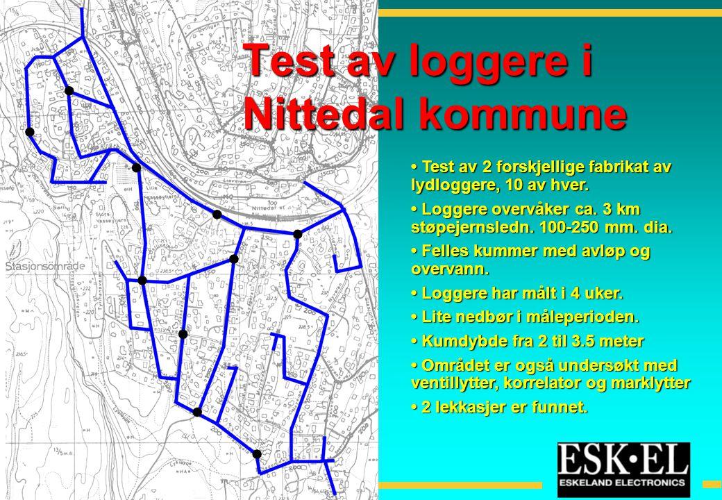 • Test av 2 forskjellige fabrikat av lydloggere, 10 av hver. • Loggere overvåker ca. 3 km støpejernsledn. 100-250 mm. dia. • Felles kummer med avløp o