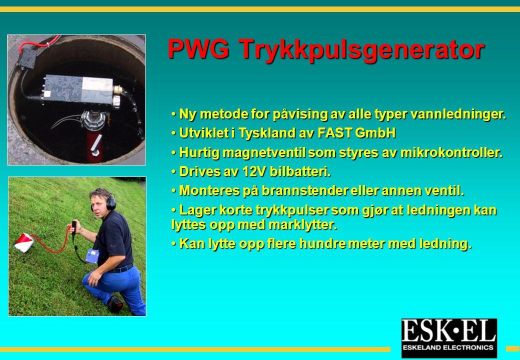 • Ny metode for påvising av alle typer vannledninger. • Utviklet i Tyskland av FAST GmbH • Hurtig magnetventil som styres av mikrokontroller. • Drives
