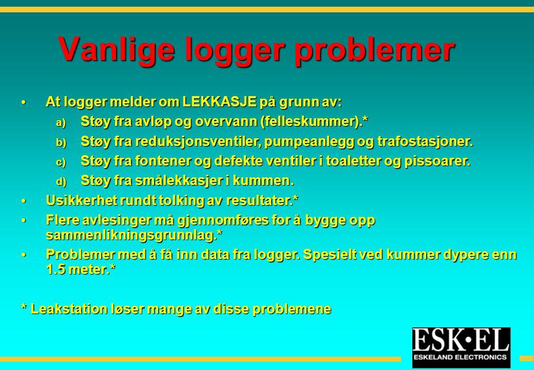 Vanlige logger problemer • At logger melder om LEKKASJE på grunn av: a) Støy fra avløp og overvann (felleskummer).* b) Støy fra reduksjonsventiler, pu