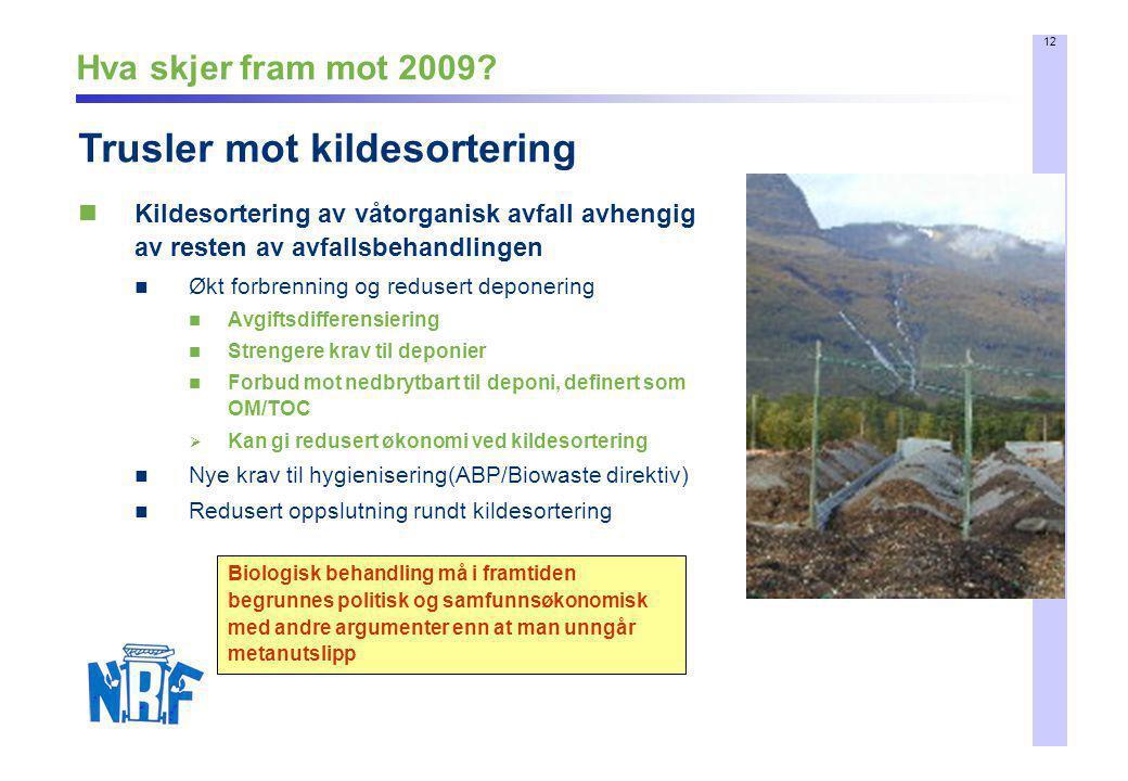 12 Hva skjer fram mot 2009?  Kildesortering av våtorganisk avfall avhengig av resten av avfallsbehandlingen  Økt forbrenning og redusert deponering