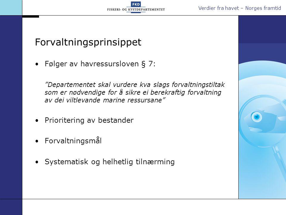 """Verdier fra havet – Norges framtid Forvaltningsprinsippet •Følger av havressursloven § 7: """"Departementet skal vurdere kva slags forvaltningstiltak som"""