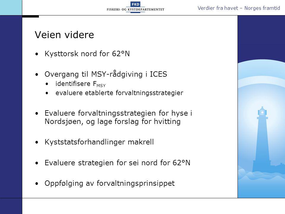 Verdier fra havet – Norges framtid Veien videre •Kysttorsk nord for 62°N •Overgang til MSY-rådgiving i ICES •identifisere F MSY •evaluere etablerte fo