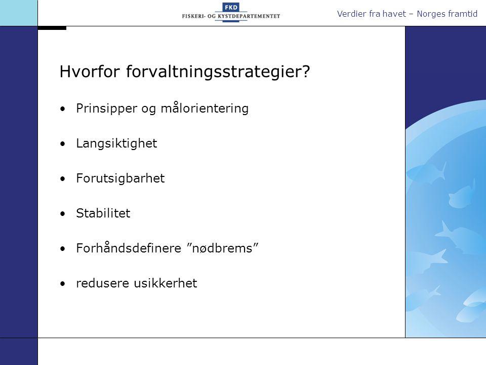 Verdier fra havet – Norges framtid Hvorfor forvaltningsstrategier? •Prinsipper og målorientering •Langsiktighet •Forutsigbarhet •Stabilitet •Forhåndsd