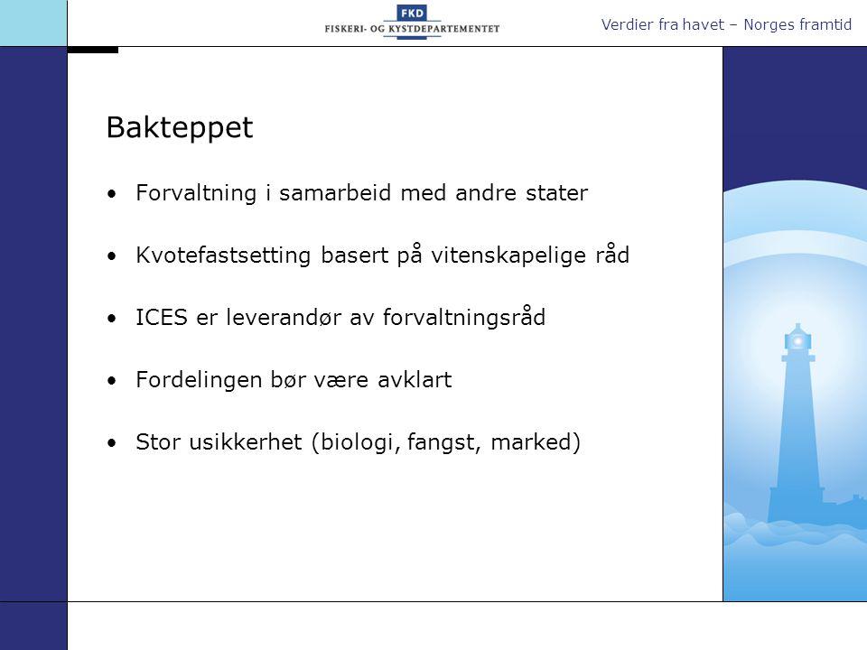 Verdier fra havet – Norges framtid Bakteppet •Forvaltning i samarbeid med andre stater •Kvotefastsetting basert på vitenskapelige råd •ICES er leveran