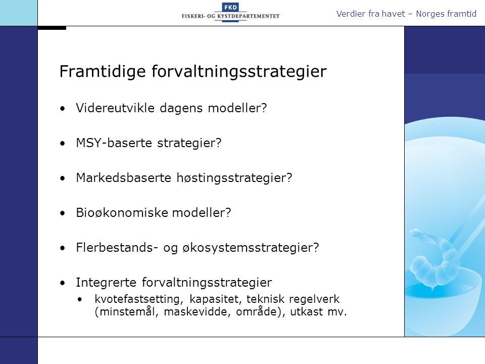 Verdier fra havet – Norges framtid Framtidige forvaltningsstrategier •Videreutvikle dagens modeller? •MSY-baserte strategier? •Markedsbaserte høstings