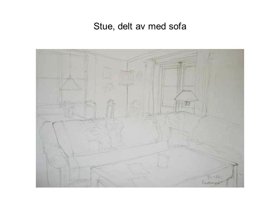 Stue, delt av med sofa