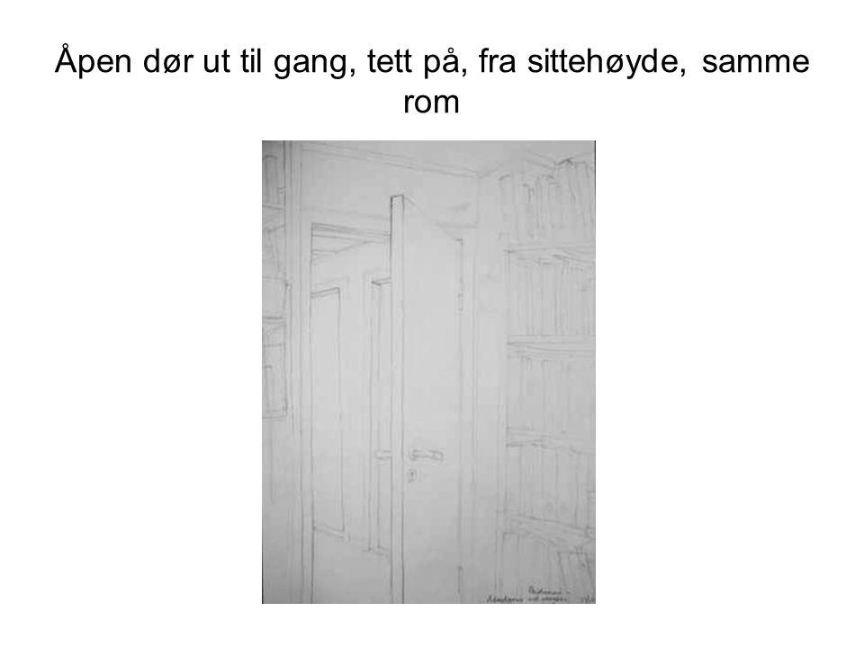 Hjørne i samme rom, med skråtak, hyller skap og benk, tett innpå