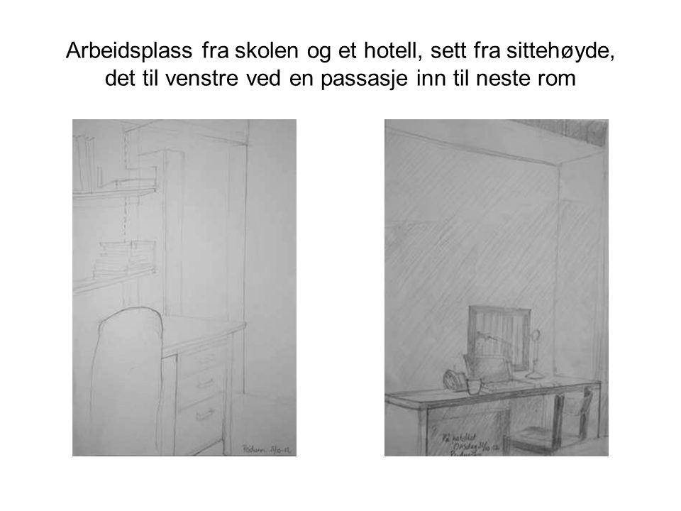 Fra et hjørne av ei stue, med skråtak og møbler (klaffebord, sofa, krakk og hylle)
