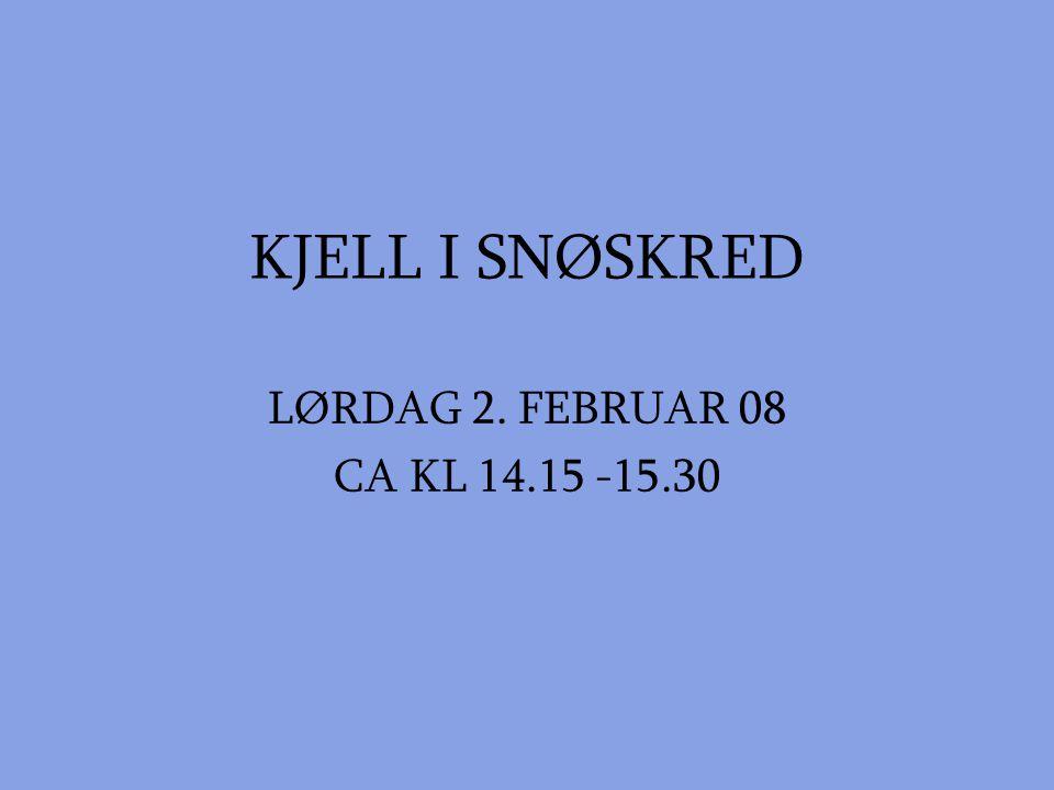 KJELL I SNØSKRED LØRDAG 2. FEBRUAR 08 CA KL 14.15 -15.30