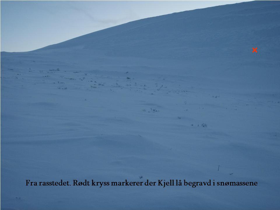 Fra rasstedet. Rødt kryss markerer der Kjell lå begravd i snømassene