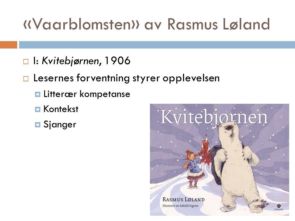«Vaarblomsten» av Rasmus Løland  I: Kvitebjørnen, 1906  Lesernes forventning styrer opplevelsen  Litterær kompetanse  Kontekst  Sjanger