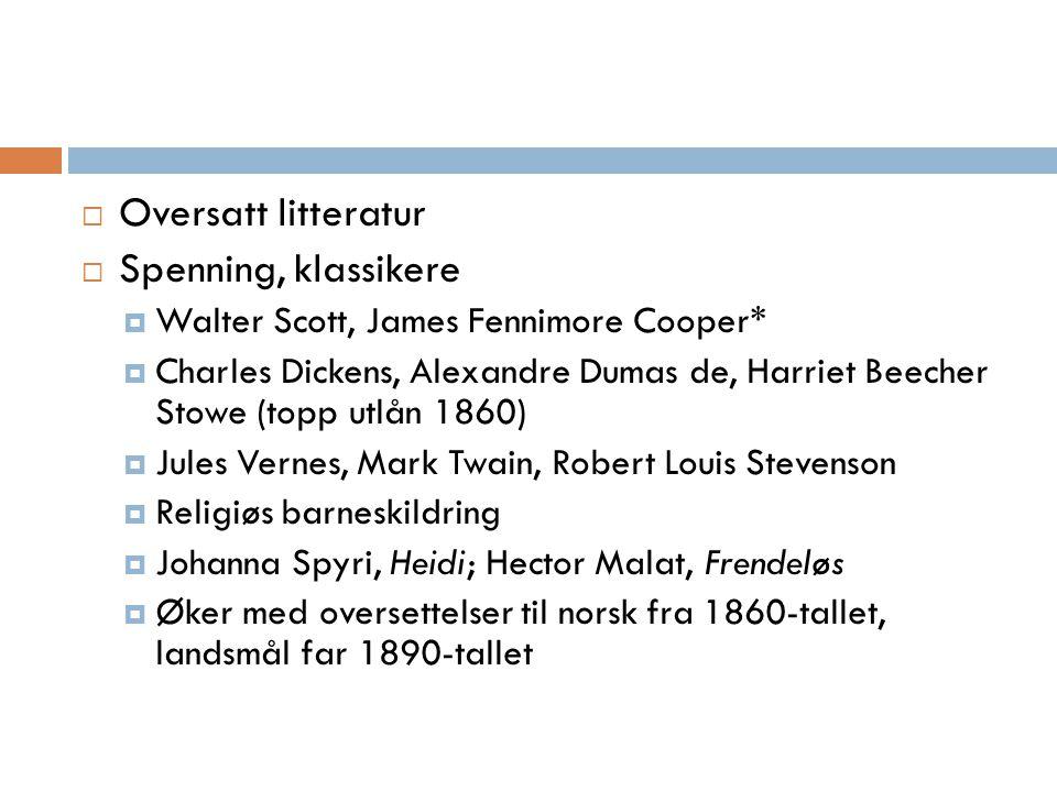  Oversatt litteratur  Spenning, klassikere  Walter Scott, James Fennimore Cooper*  Charles Dickens, Alexandre Dumas de, Harriet Beecher Stowe (top