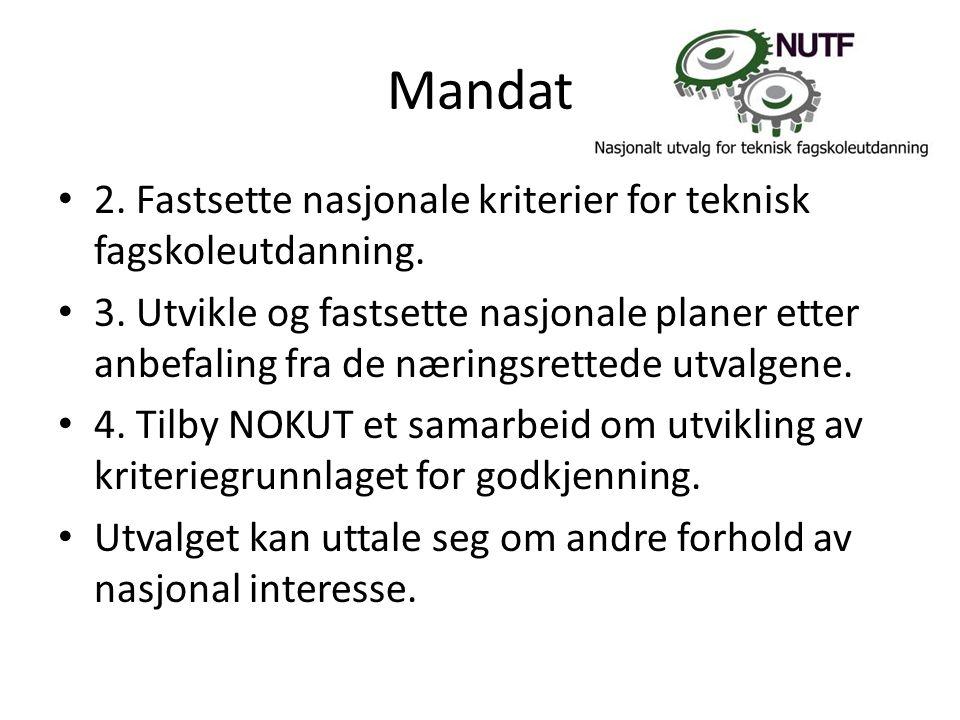 Nasjonalt utvalg for tekniske fag • NUTF har i 2011 / 2012 gjennomført 4 utvagsmøter • Hovedagendaer for møtene har vært : • Nasjonalt fagskoleråd.