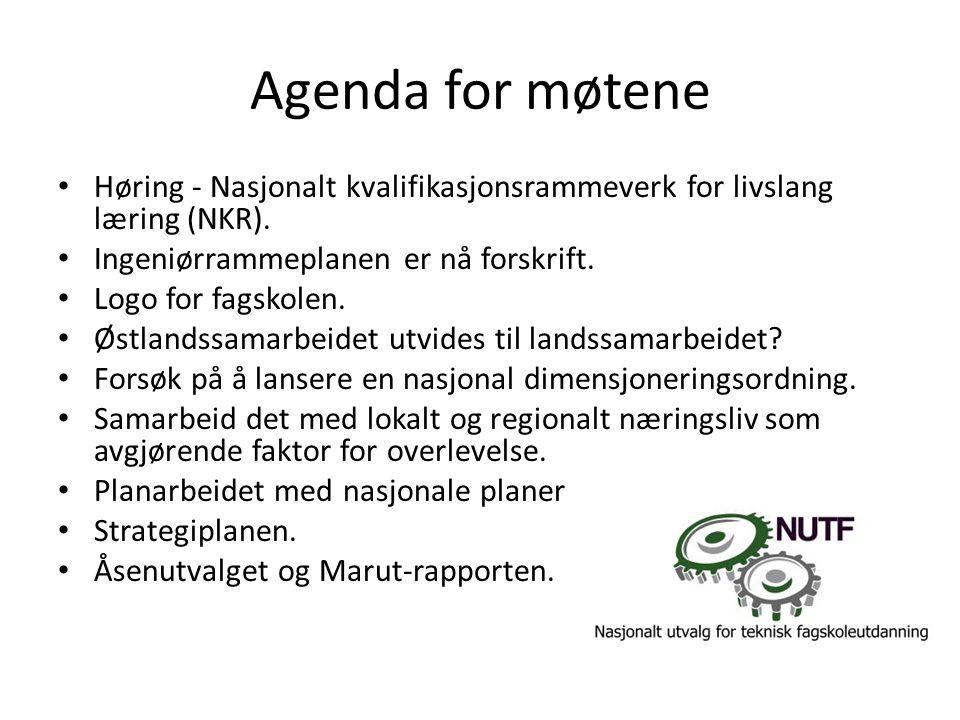 Agenda for møtene • Høring - Nasjonalt kvalifikasjonsrammeverk for livslang læring (NKR).