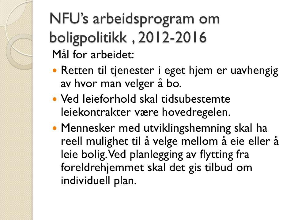 NFU's arbeidsprogram om boligpolitikk, 2012-2016 Mål for arbeidet:  Retten til tjenester i eget hjem er uavhengig av hvor man velger å bo.  Ved leie