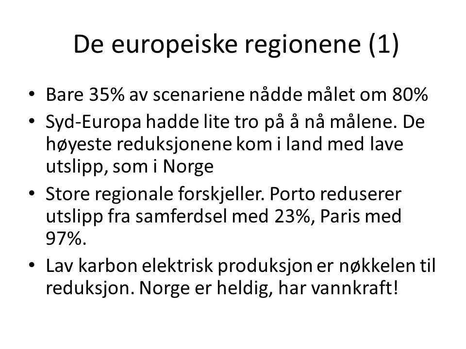 De europeiske regionene (1) • Bare 35% av scenariene nådde målet om 80% • Syd-Europa hadde lite tro på å nå målene. De høyeste reduksjonene kom i land