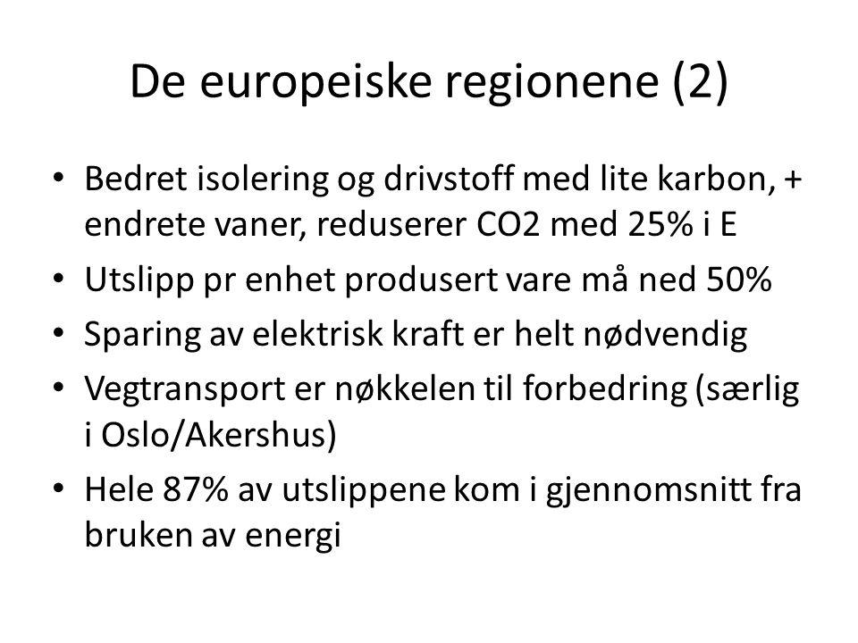 De europeiske regionene (2) • Bedret isolering og drivstoff med lite karbon, + endrete vaner, reduserer CO2 med 25% i E • Utslipp pr enhet produsert v