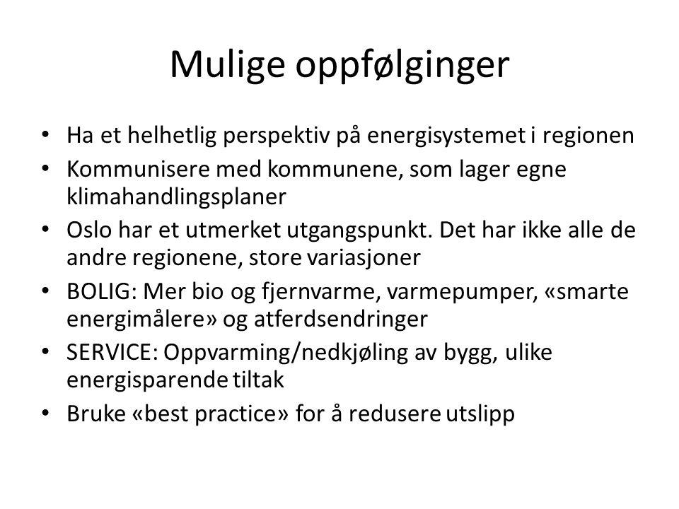 Mulige oppfølginger • Ha et helhetlig perspektiv på energisystemet i regionen • Kommunisere med kommunene, som lager egne klimahandlingsplaner • Oslo