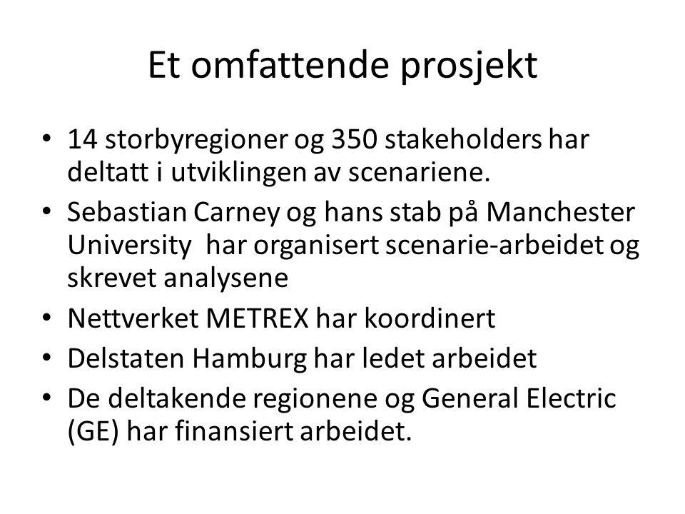 Et omfattende prosjekt • 14 storbyregioner og 350 stakeholders har deltatt i utviklingen av scenariene. • Sebastian Carney og hans stab på Manchester