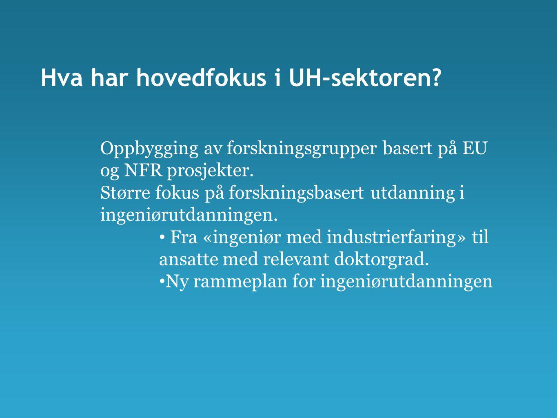 Hva har hovedfokus i UH-sektoren? Oppbygging av forskningsgrupper basert på EU og NFR prosjekter. Større fokus på forskningsbasert utdanning i ingeniø
