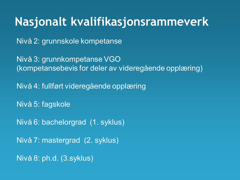 Nasjonalt kvalifikasjonsrammeverk Nivå 2: grunnskole kompetanse Nivå 3: grunnkompetanse VGO (kompetansebevis for deler av videregående opplæring) Nivå