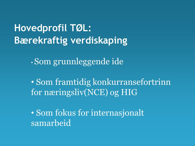 Hovedprofil TØL: Bærekraftig verdiskaping • Som grunnleggende ide • Som framtidig konkurransefortrinn for næringsliv(NCE) og HIG • Som fokus for internasjonalt samarbeid
